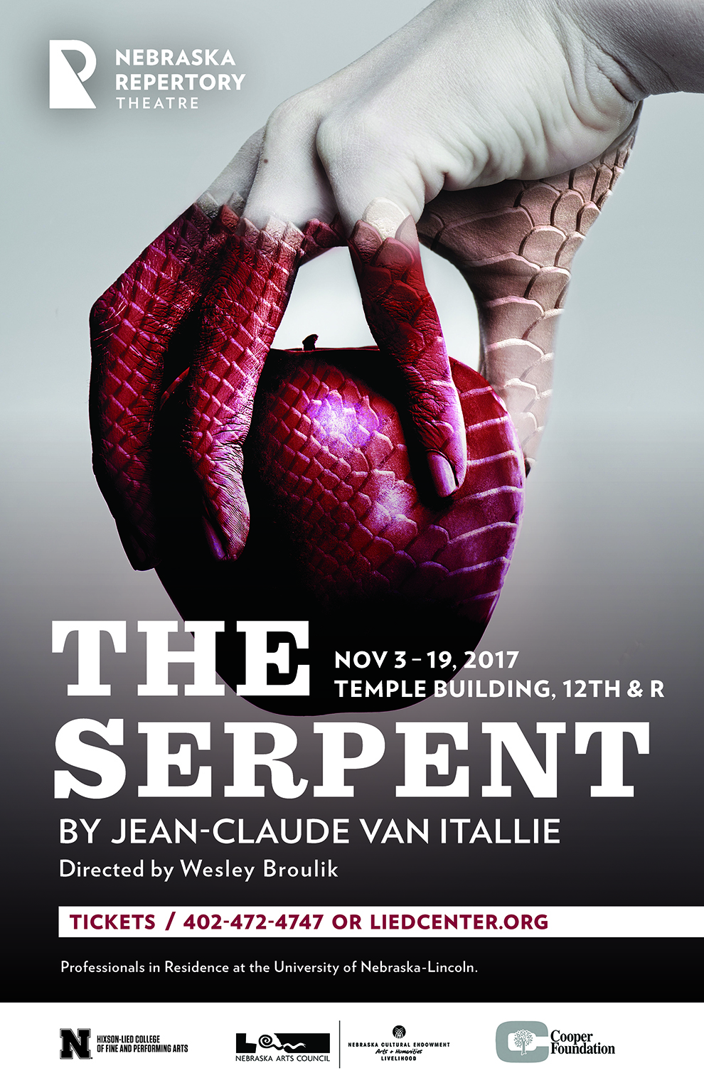 """A poster featuring a hand holding an apple, with reptilian scales crwaling up from the apple onto the hand. The headine of the poster reads """"The Serpent""""."""