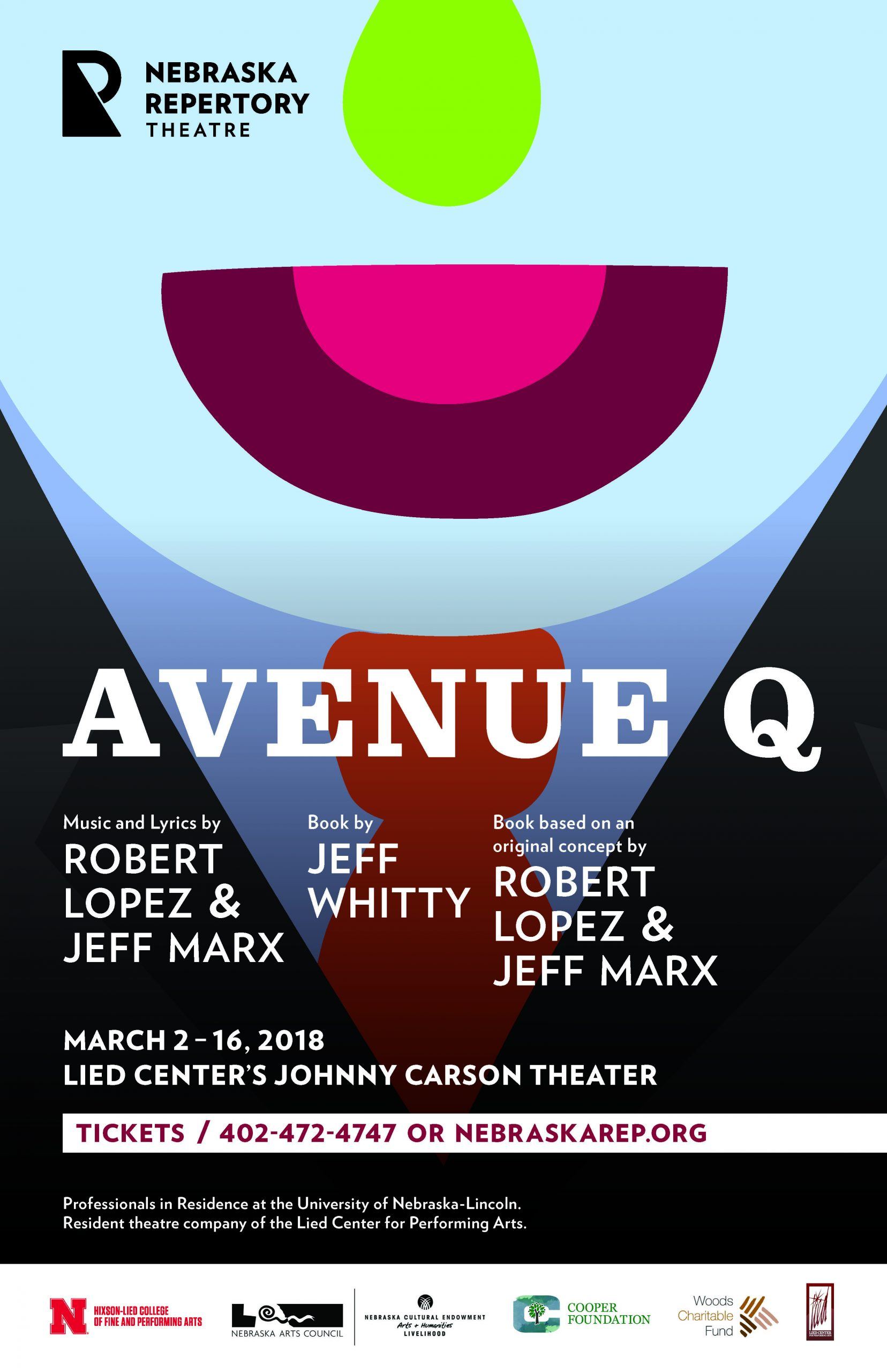 """A headline reading """"Avenue Q"""" is overlaid over a graphic illustration of the bottom half of a muppet's face, a suit and tie visible below its chin."""