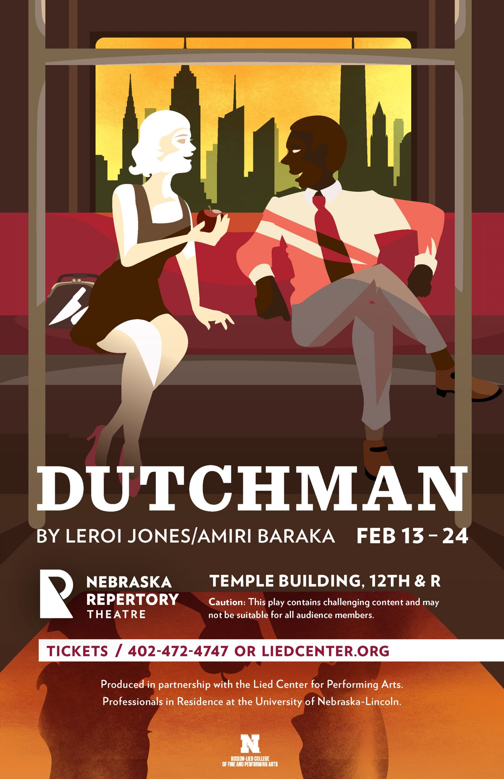 A poster depicting a black man and a white woman on a subway train with the headline 'Dutchman'. The woman is leaning forward holding an apple, and a knife can be seen in her purse sitting next to her.