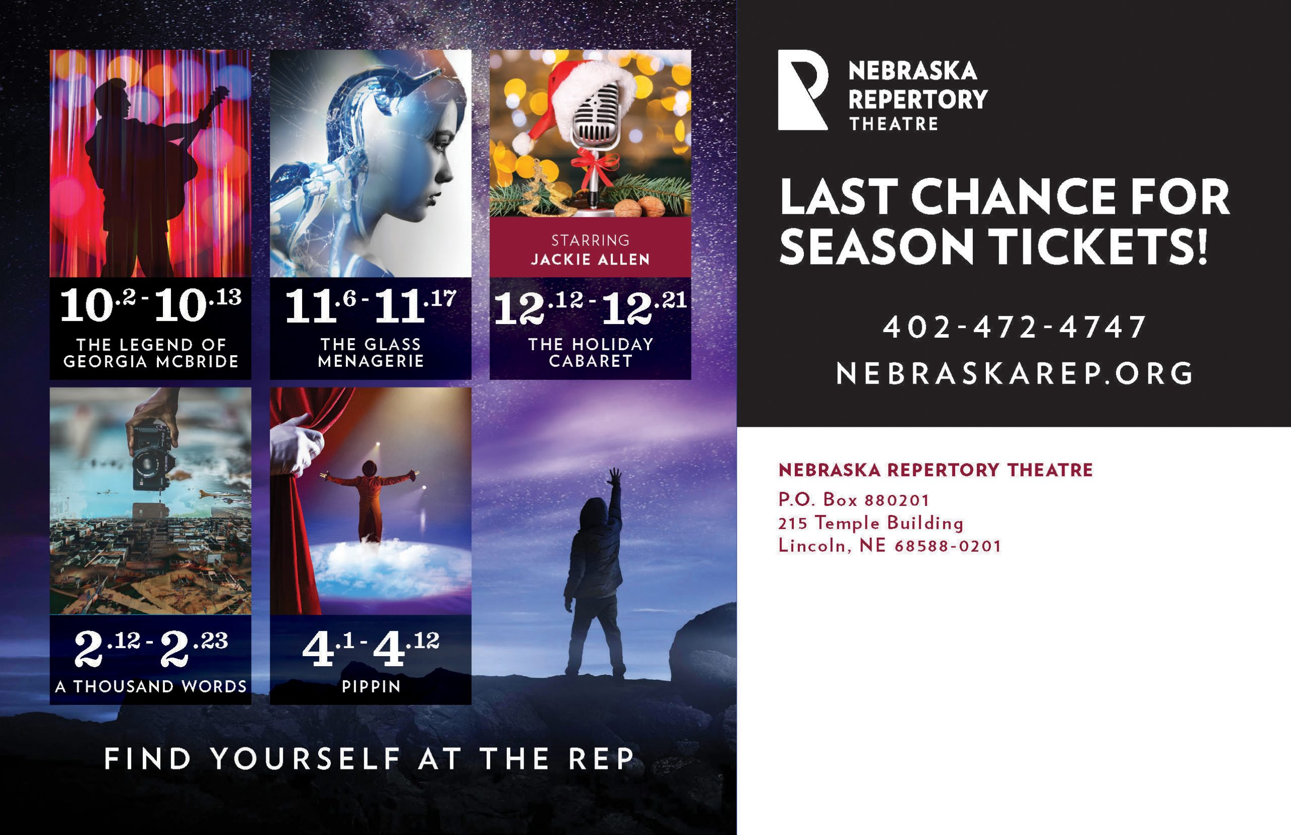 The back of a promotional postcard. Five shows and show dates are listed, as well as a title reading 'Last Chance for Season tickets'.