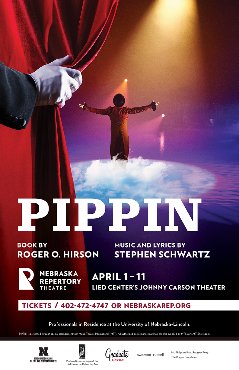 A poster with the title 'Pippin'. A hand pulls back a red curtain to show a man standing with his arms outstretched in the light of spotlights, standing on a patch of what appears to be clear blue sky and fluffy clouds.