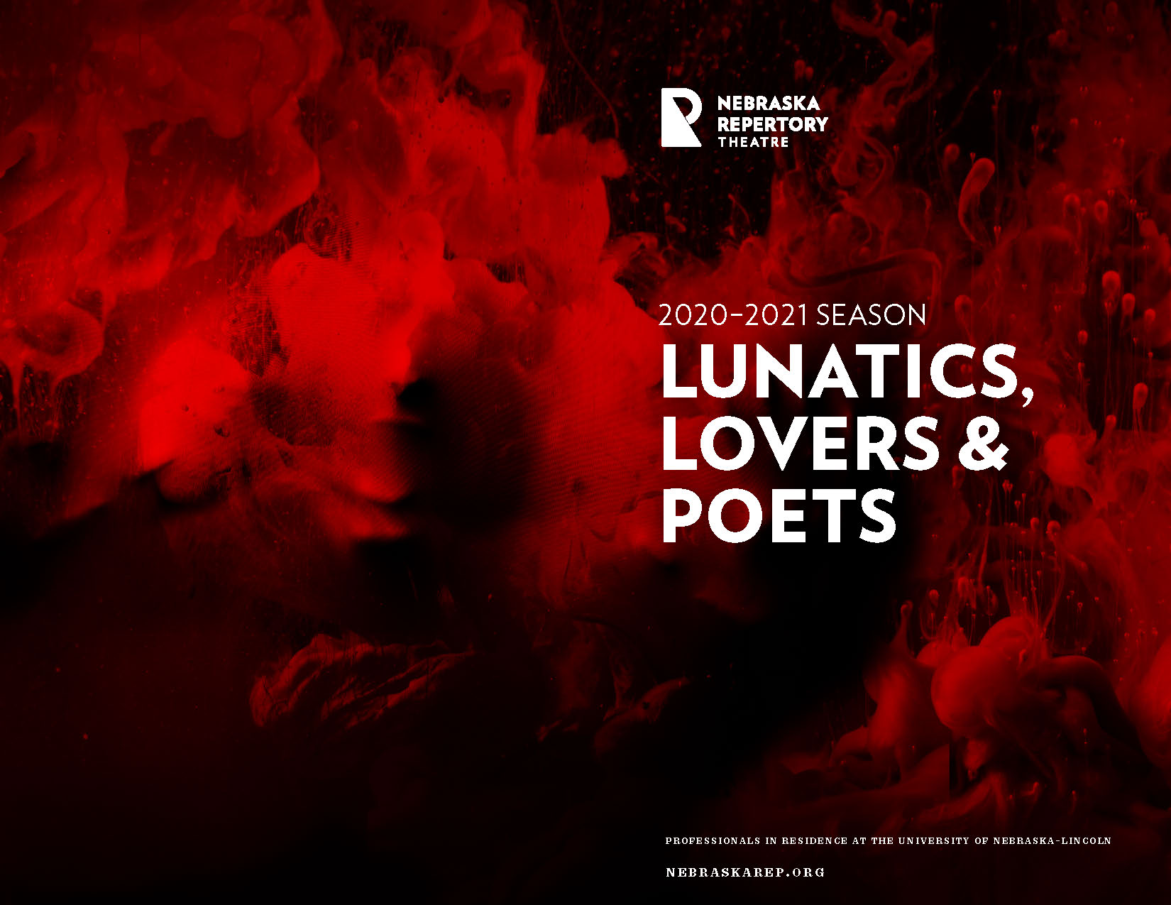 The cover of a program, featuring the title '2020–2021 Season: Lunatics, Lover & Poets' over a dramatic black background where curling red smoke forms creepy faces.