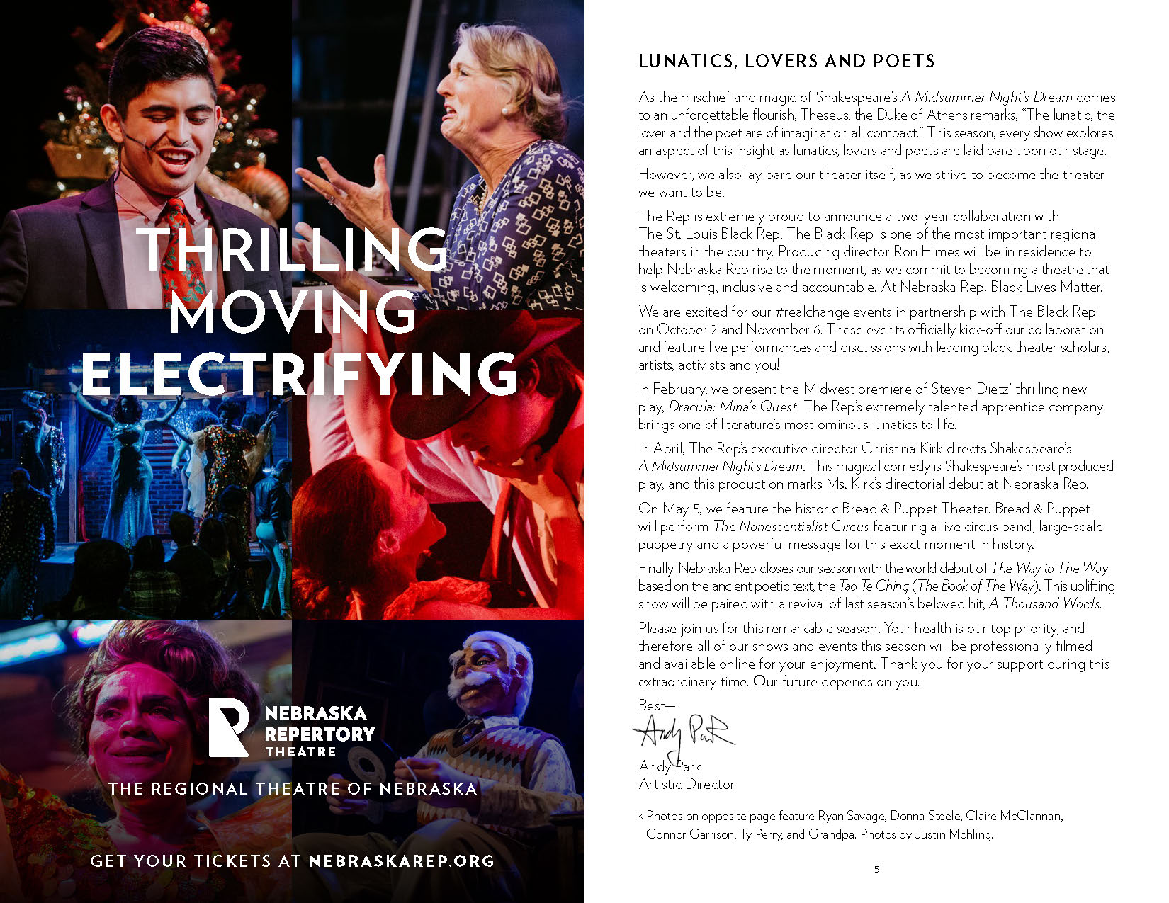 A program spread, with an ad reading 'Thrilling, Moving, Electrifying' on the left overlaid on photos of actors performing in dramatic settings, and a letter from the director on the right.