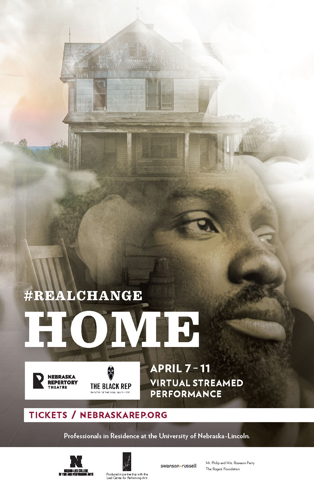 A poster for a play titled 'Home'. Superimposed over a misty background are a black man's face, a home in a wide field, and a rocking chair on a porch.