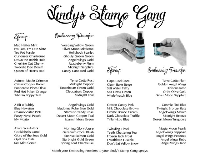 Spray EP Chart lindys stamp gang starburst sprays and embossing powders mica powder sparkle shimmer glimmer glitz glitzy spritz