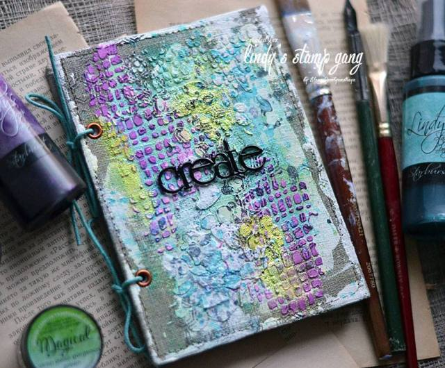 texture journal cover with magicals and ink sprays