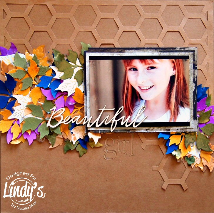 Beautiful November Layout using Lindy's Sprays and Die Cuts