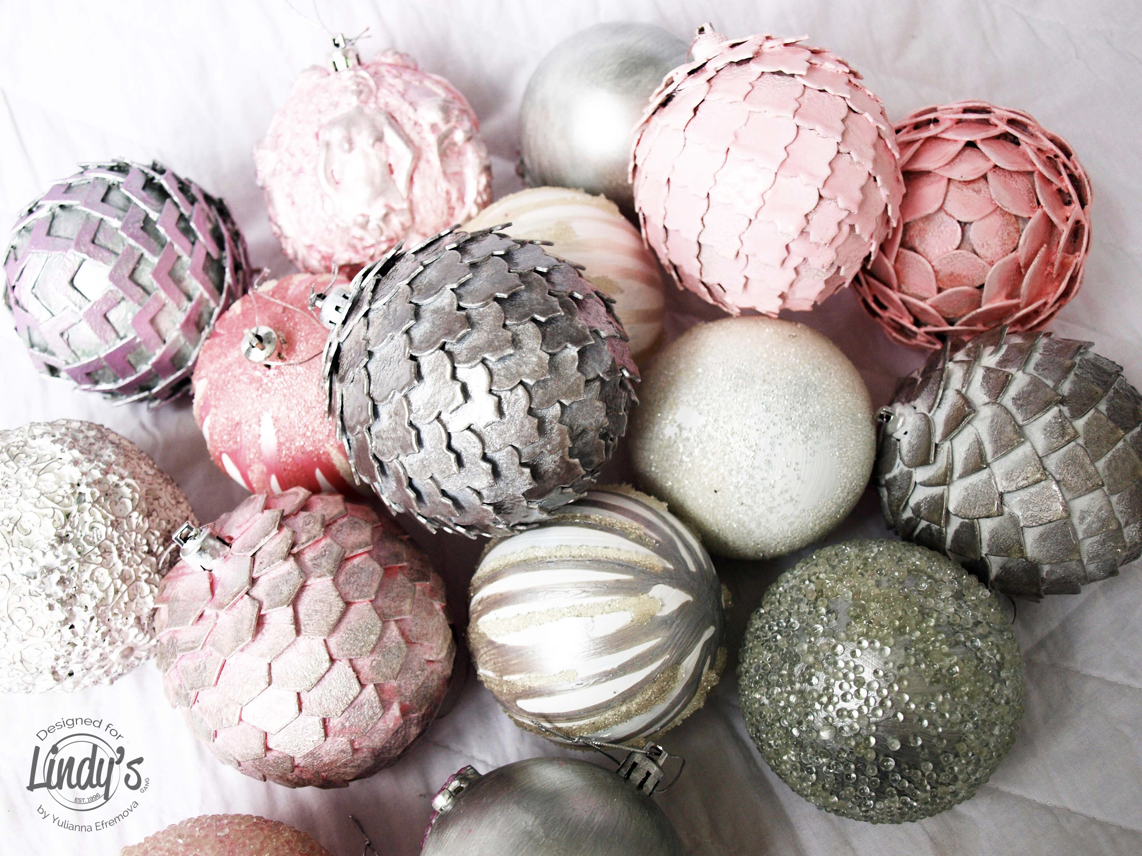 glitz spritz brushed nickel and embossing powder queen shebas silver ep oom pah pah pink to create my mixed media christmas balls