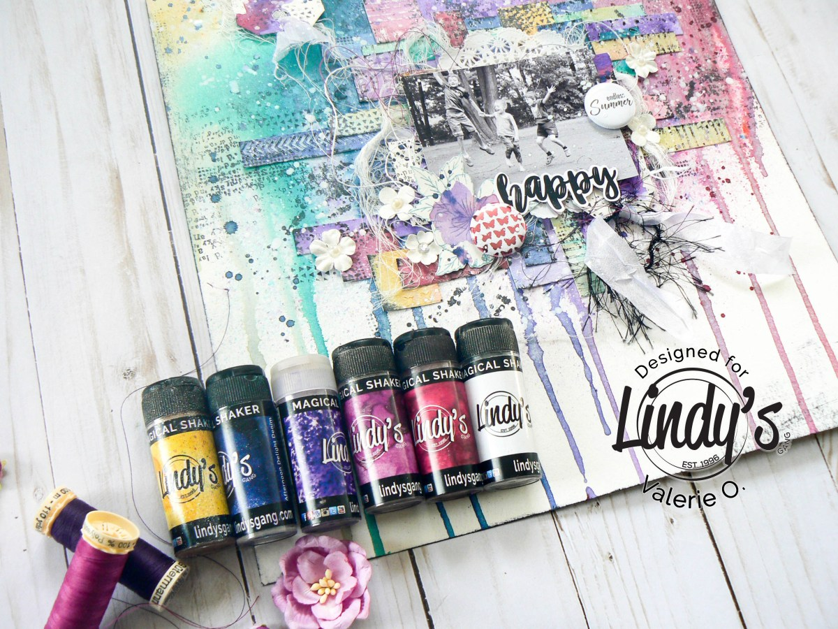 Rainbow Mixed Media Watercolor Layout using Lindy's Shakers