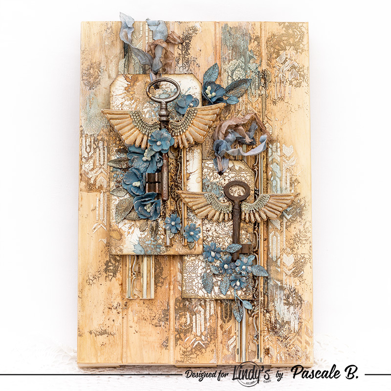 Flying Keys Assemblage Mixed Media Pallet by Pascale