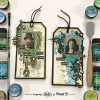 Vintage Mixed Media Tags with Lindys Magical Shakers and Embossing Powders