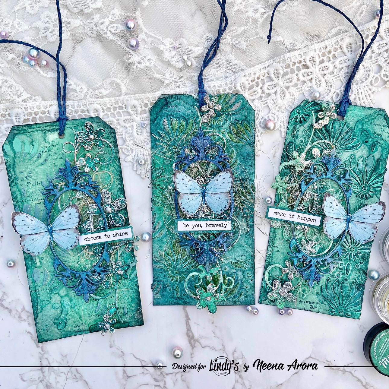Three Ways to use Lindy's and Texture Paste on Tags from Neena