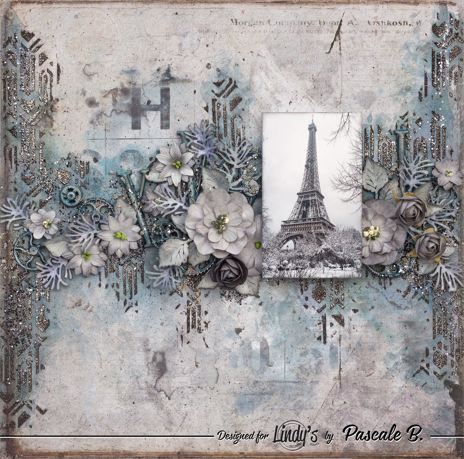 Eiffel Tower – Mixed media layout by Pascale B.