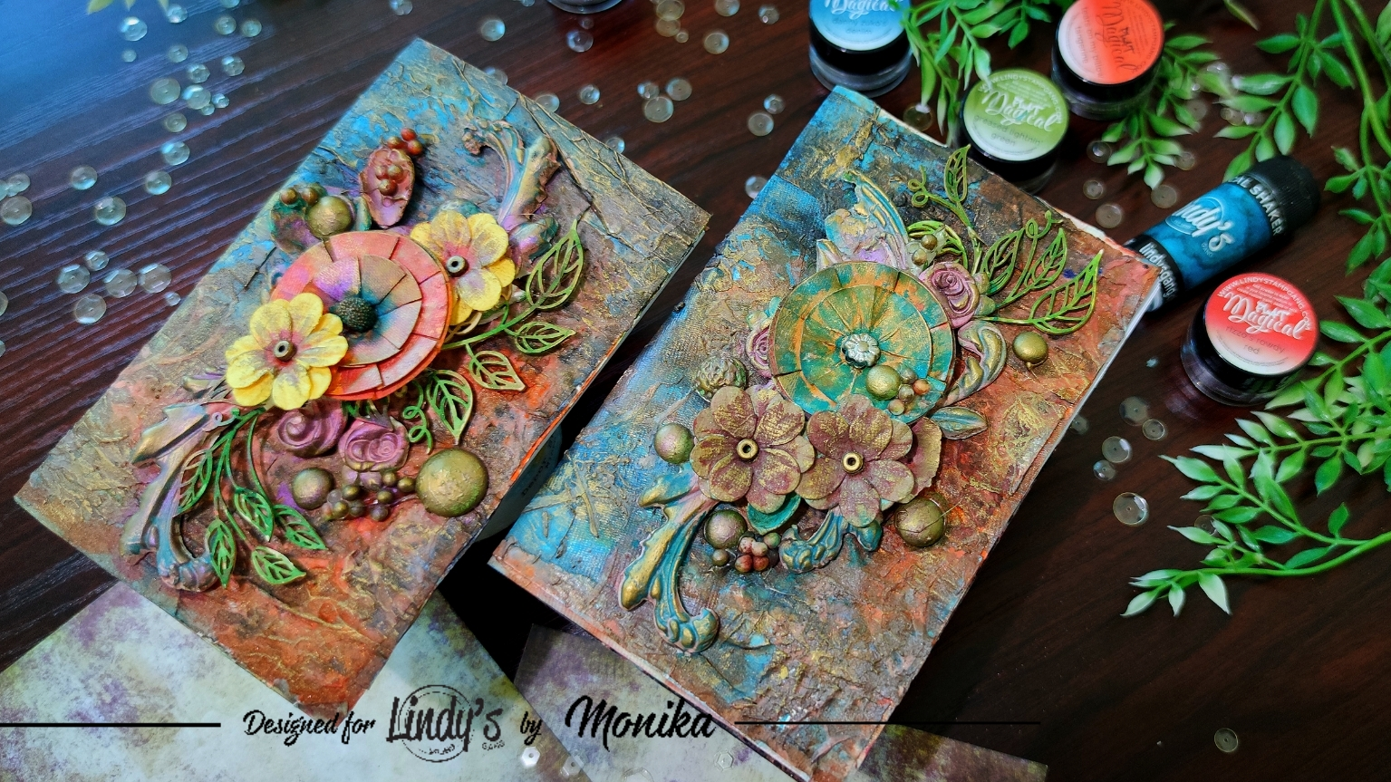 Mixed Media Notebook Covers with Lindy's Magicals and Monika