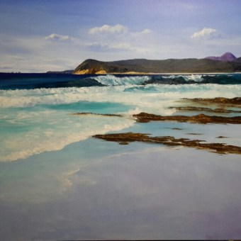 """""""Friendly Beaches"""" Stretched canvas 75x75 cm $400"""