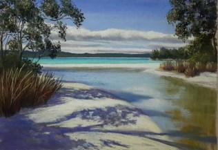 """""""Summer Beach"""" Unframed pastel 30 x30cm $110AUS"""