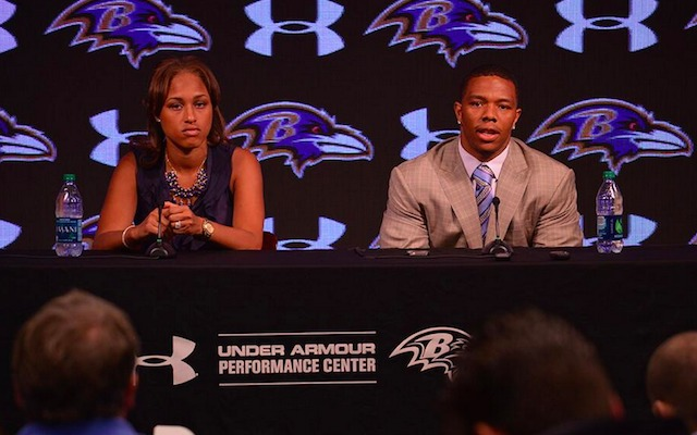 """Ray Rice, seen here with his wife Janay, responding to allegations he routinely exceeded his per diem throughout the 2013 - 2014 season."" - (AP Photo)"