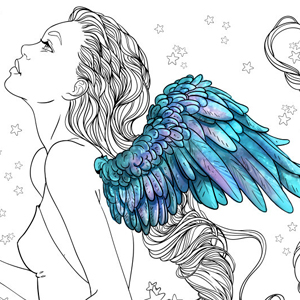 line artsy purchase angel adult coloring page