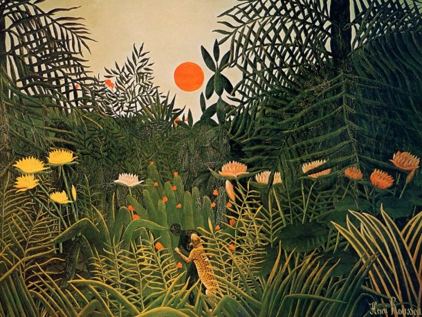 "Rousseau ""Negro atacado por un jaguar"" (1910)."