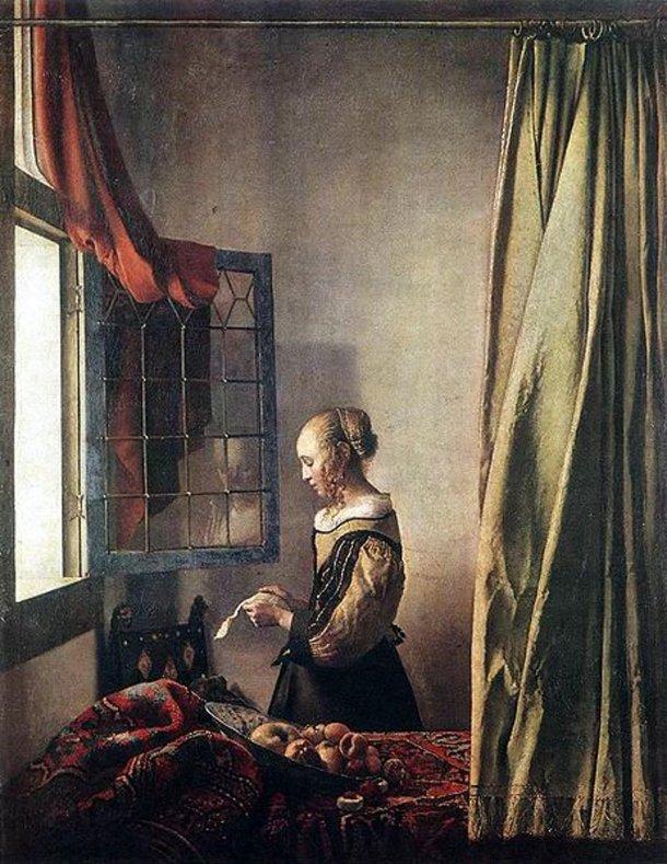 mujer leyendo una carta junto a la ventana abierta 1657