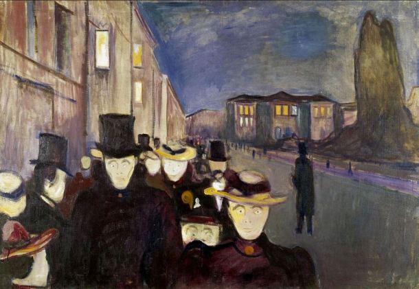 Munch Atardecer en el paseo Karl Johann 1892