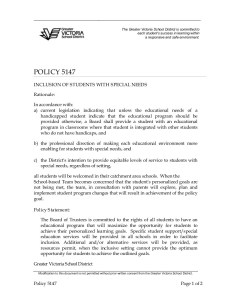 SD61 Policy 5147 Integration of Students With Special Needs