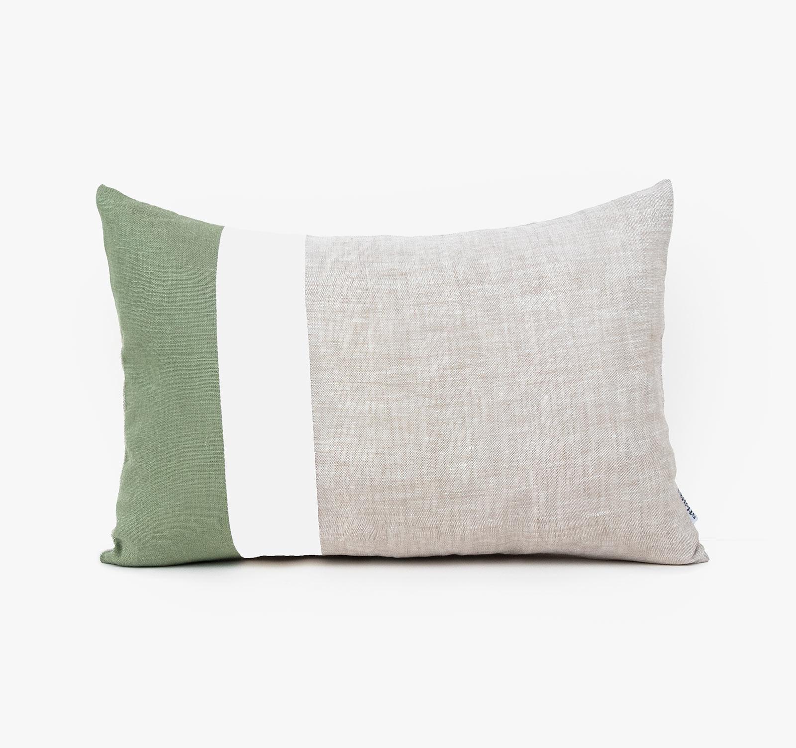 color block lumbar pillow cover moss green linen