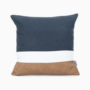 geometric navy linen and stripes cushion cover