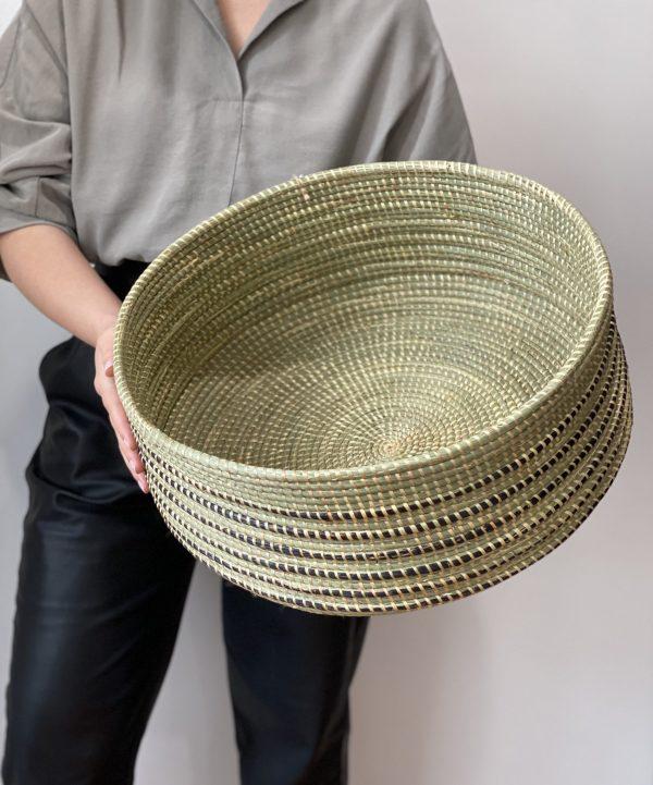 Amsha - Wave Floor Basket- Black