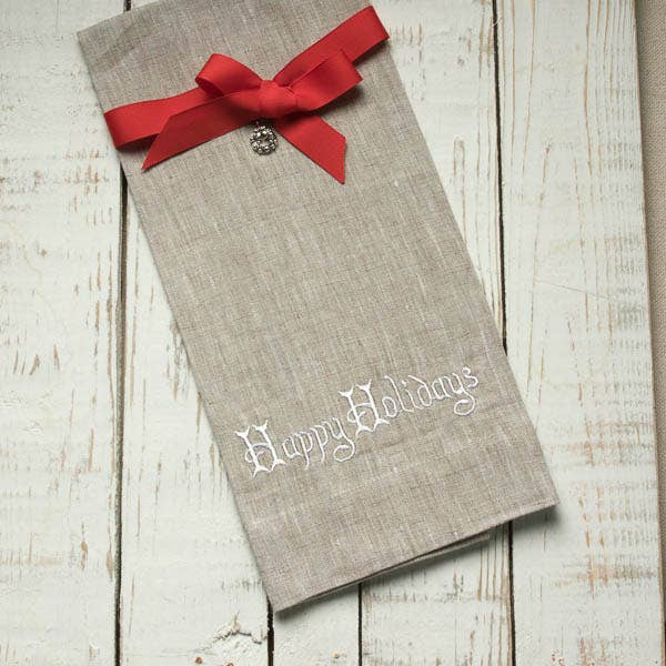 Crown Linen Designs - Happy Holidays Linen Towel