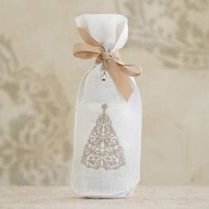 Crown Linen Designs - Christmas Tree Linen Holiday Wine Bag