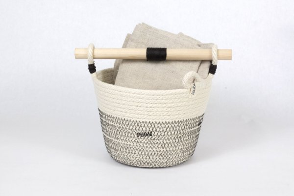 Woven Grey - Woven Basket With Wooden Handle