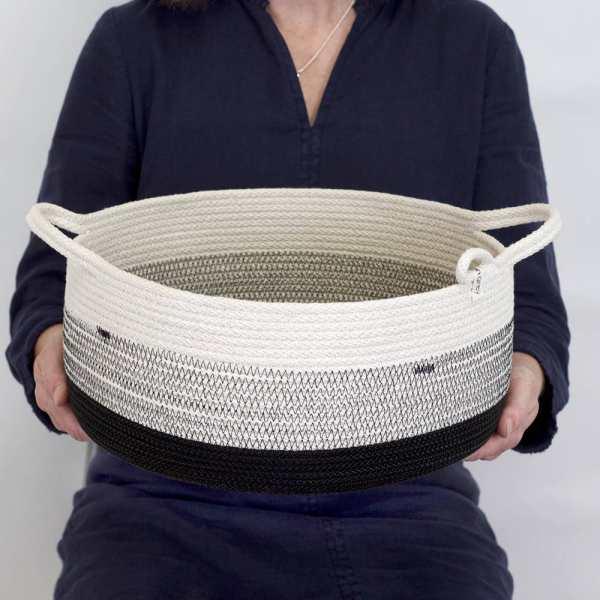 Woven Grey - Large 2-Handled Black Basket