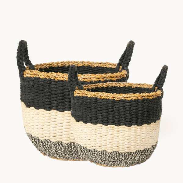 KORISSA - Ula Stripe Basket - Black