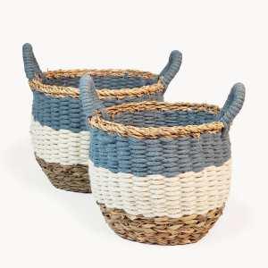 KORISSA - Ula Stripe Basket - Blue