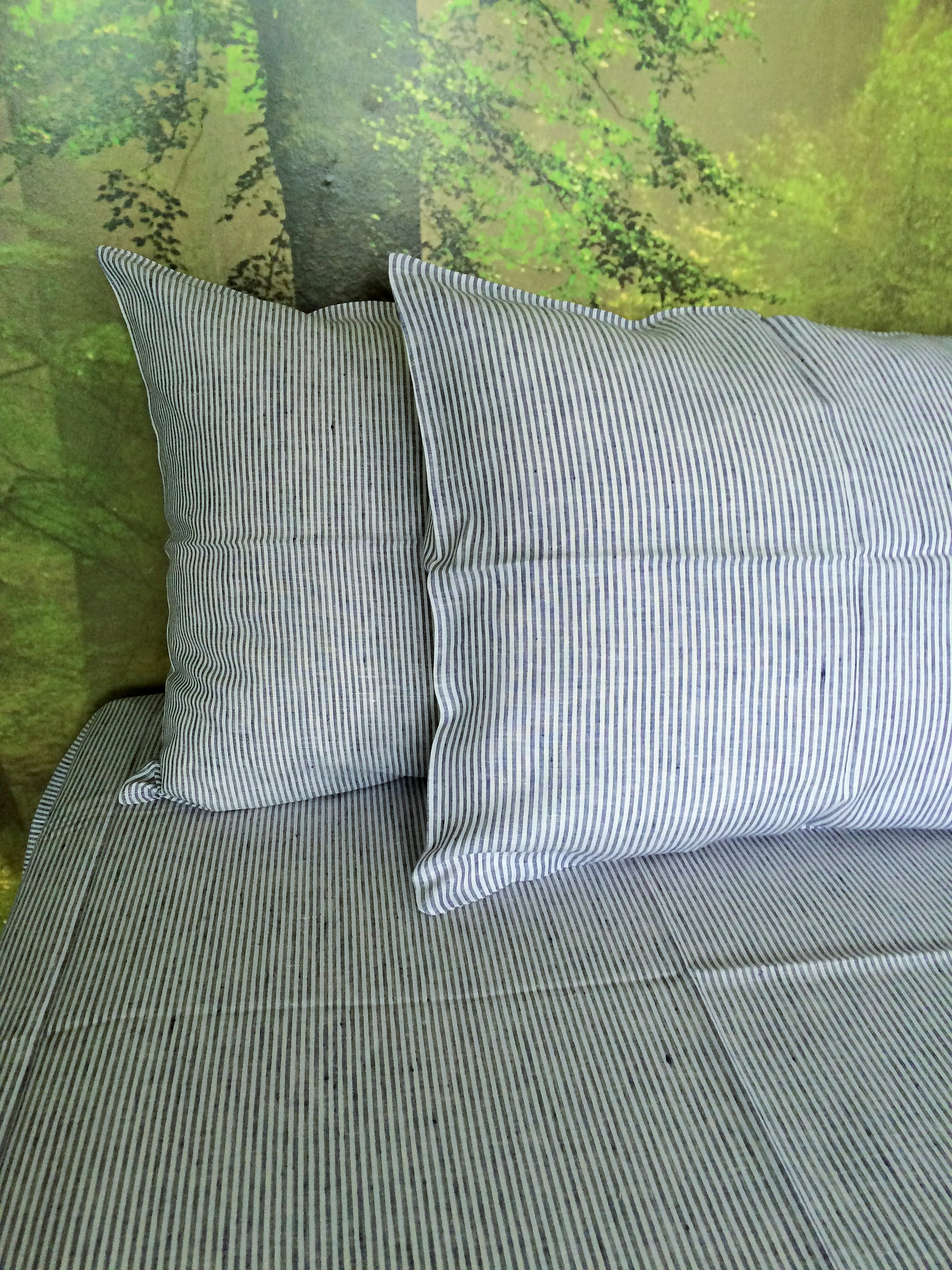 linen pillow case in blue and white stripe