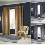 Crushed Velvet Fancy Pair Of Fully Lined Ring Top Eyelet Luxury Curtains Linenstar