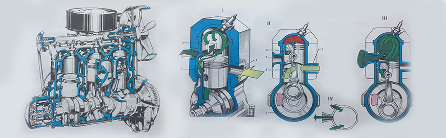 двутактов двигател сжема на работа