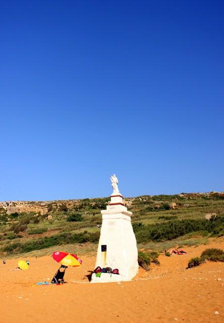 Virgin Mary statue at Ramla Bay, Gozo