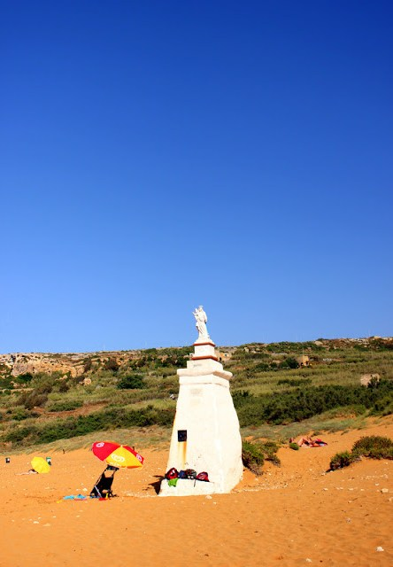 Virgin Mary statue at Ramla Bay, Gozo