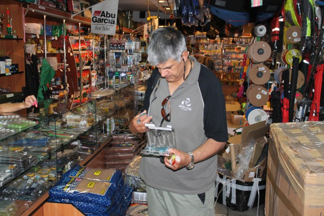 In a well-stocked Polish tackle shop in Koszalin – we could learn a lot about lure fishing from these people!