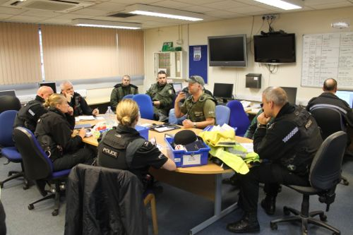 A briefing for police, Environment Agency and PSR staff before the first TRAVERSE 'Day of Action' on 13 November 2014. A number of anglers were checked in the Spalding and Boston areas – all were fishing legally.