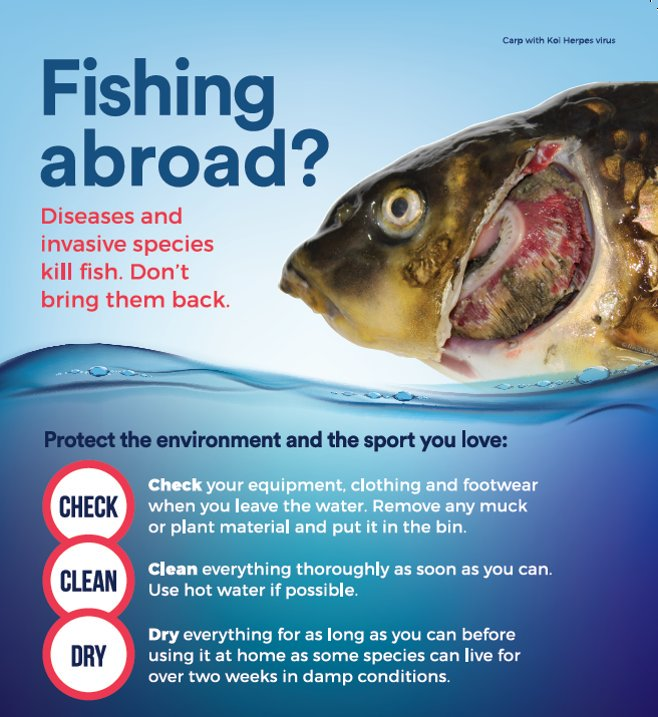 Check clean dry invasive species travel poster Angling Trust