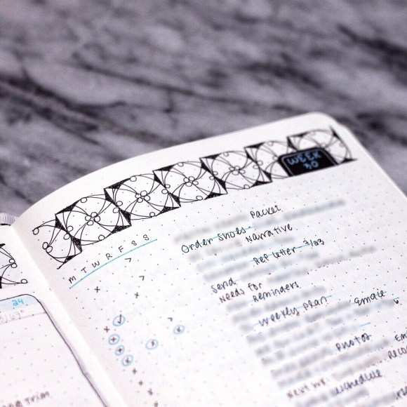 A close-up of a different spread in my bullet journal, with a to-do list weekly task list.