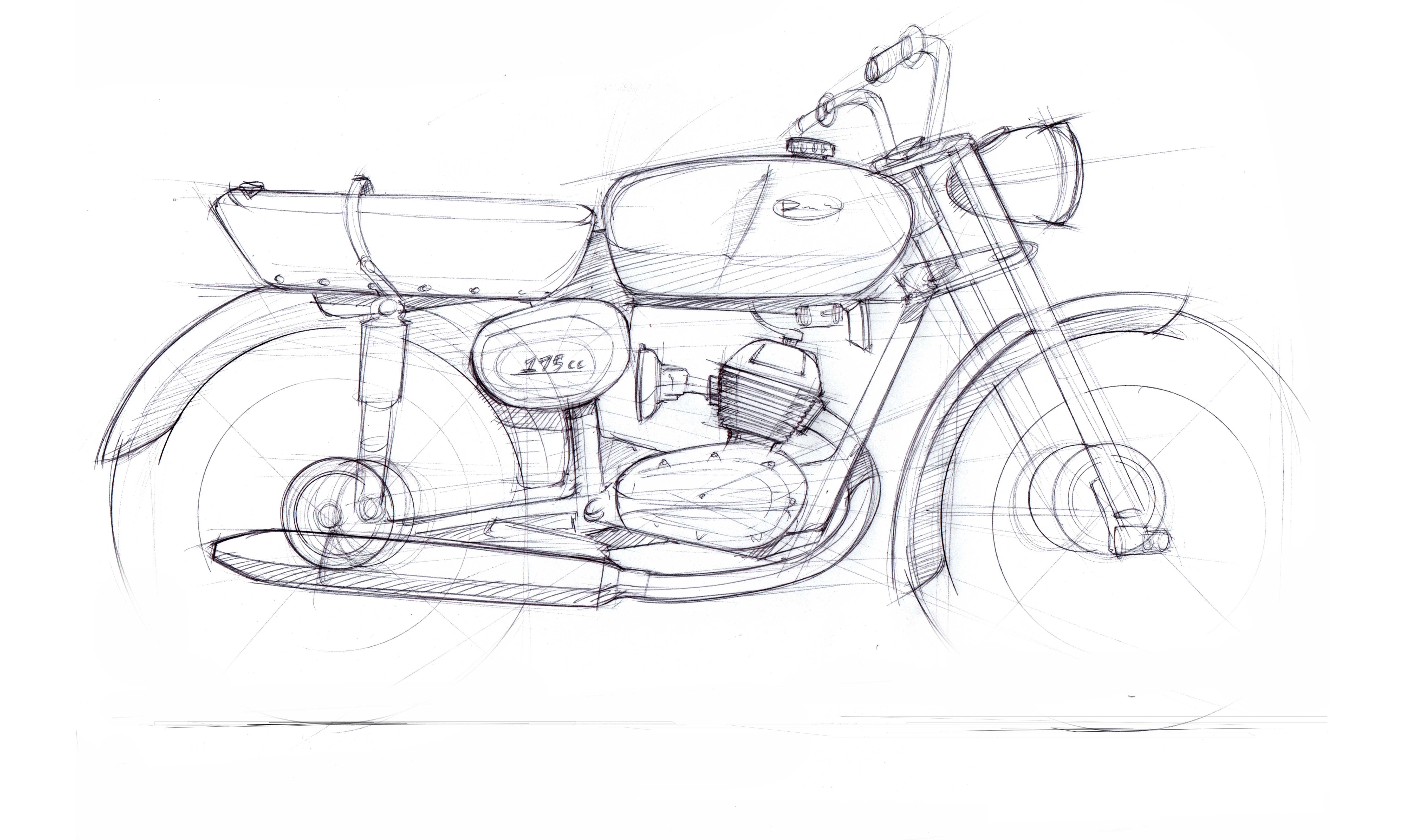 Motorcycle Sketch Demo Benelli 175cc