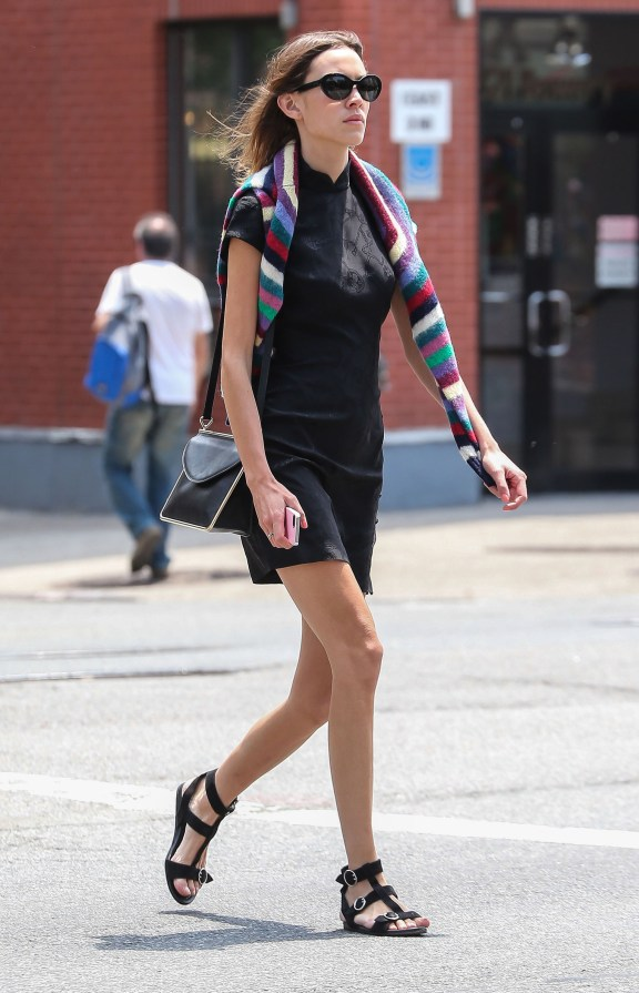 Alexa Chung spotted out running errands in New York City, New York on June 8, 2015.