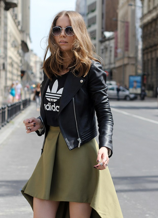 vanja-fashion-and-style-blog-ines-atelier-leather-jacket-adidas-t-shirt-ines-atelier-skirt-parfois-sunglasses