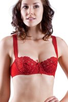 Unlined demi bra. Luxurious, soft cotton blend. Seamed, underwire cups provides great lift. Inner slings and side boning offer additional support. Sexy lace-up effect with bow on center. Pretty floral embroidery with eyelet detail. Scalloped trim rigid front straps. Back adjustable stretch straps. 3 column, 2 row hook and eye back closure. Sun, 17 Oct 2021 06:02:22 +0400