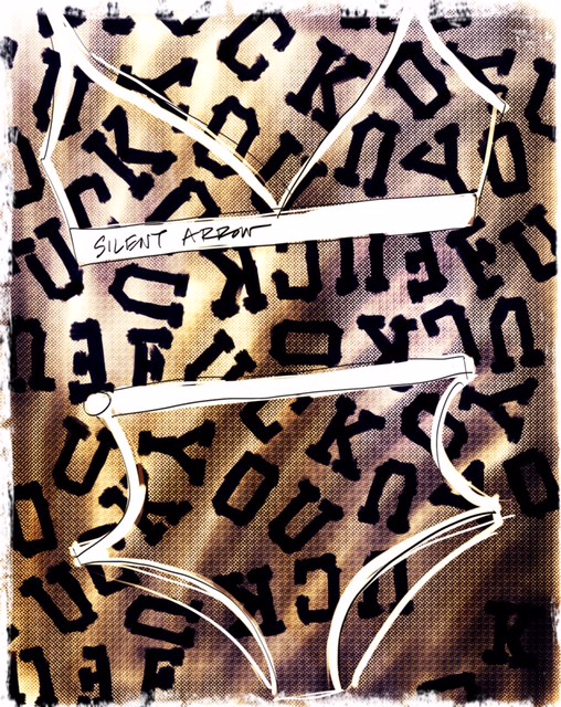 Silent Arrow illustrated by Tina Wilson on Lingerie Briefs