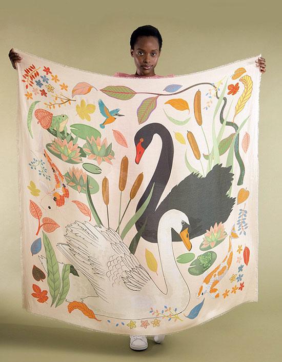 Karen Mabon Silk Print Scarves on Lingerie Briefs